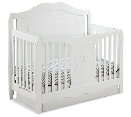 Stork Craft Princess 4 in 1 Fixed Side Convertible Crib, White