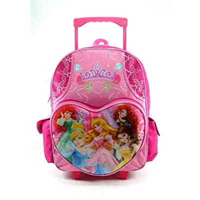 "Princess 16"" Rolling Backpack Cinderella Brave Mermaid Snow White durable modeling"