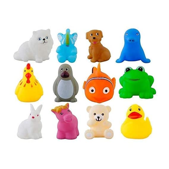 Special Design Early Educational Toys Gifts Rubber Baby Bath Toy Colorful (Pack of 12)