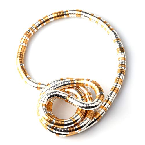 GVUSMIL Bendable Snake Twistable Adjustable Neck Collar Choker Necklace Wrap Bracelet Scarf Holder (Gold&Silver, 8)