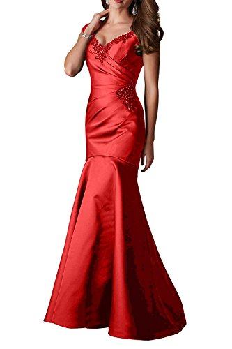Rot Figurbetont Charmant mit V Geraft Schleppe Lang Ballkleider Satin ausschnitt Elegant Abendkleider Damen Trumpet xCOqZ