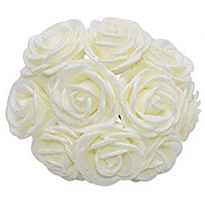 YONGSNOW 20 Pcs Foam Artificial Rose Flowers, Real Touch Fake Flowers DIY Wedding Bridal Bouquet Decor F02 Beige 97