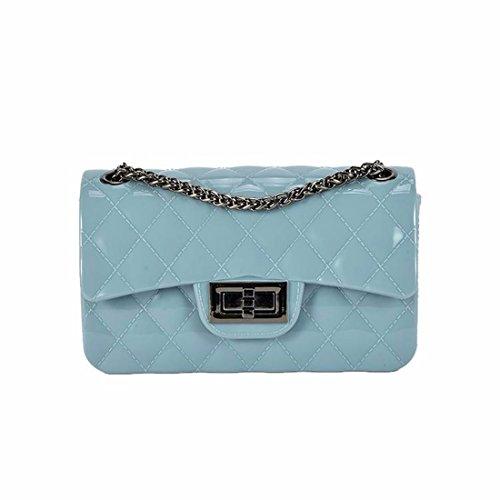 Carta opaca per sacchetto in chiffon jelly bag sacca catena mini borsa messenger bag, blu