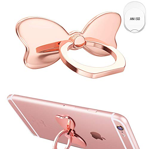 Aniso Metal Cell Phone Finger Ring Stability Holder Back Stand Collapsible Hand Grip Knob Loop Universal Car Mount Hook Kickstand 360 for iPhone Samsung Galaxy Mobile Cute Accessories (Rose Gold)