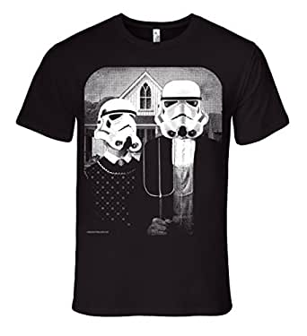 Mission Thread Clothing Mens Star Wars Storm Trooper American Gothic T-Shirt Small Black
