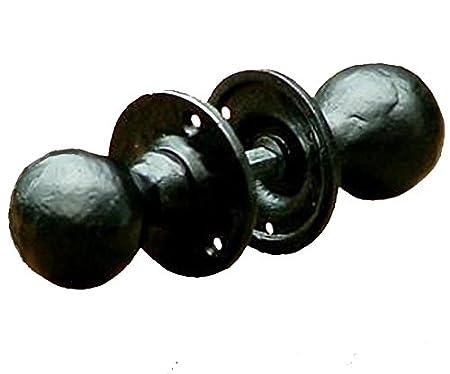 Rustic Round Door Knobs / Handles Black Cast Iron