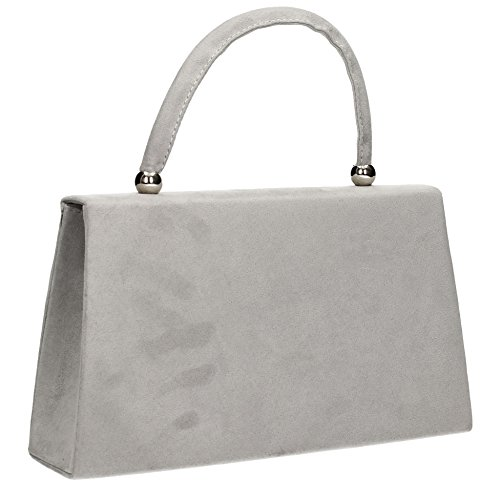 Grey Clutch Prom Bag Kendall Clutch Party Womens Envelope Suede SwankySwans ZAwq1OX