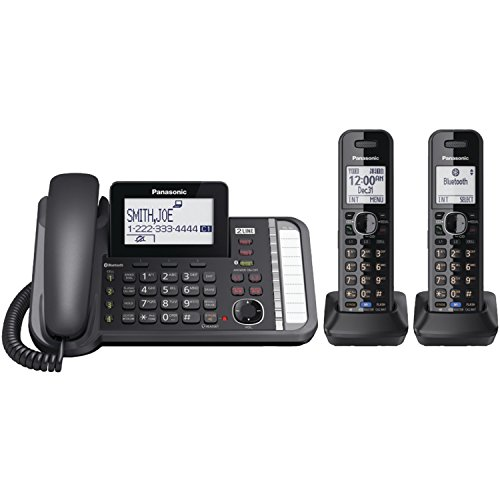 PANASONIC 2-Line Cordless Phone with 3-Way Conferencing, Call Blocking and Answering Machine. DECT 6.0 Link2Cell Bluetooth Expandable Cordless Telephone System - 2 Handsets - KX-TG9582B (Black)
