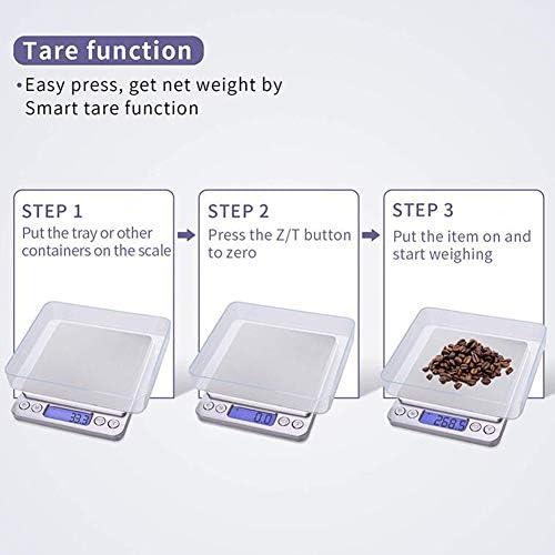 Bilancia da Cucina Digitale, Bilancia da Cucina Multifunzione Ad Alta Precisione, con Piatto di Pesata in Acciaio Inossidabile E Schermo LCD
