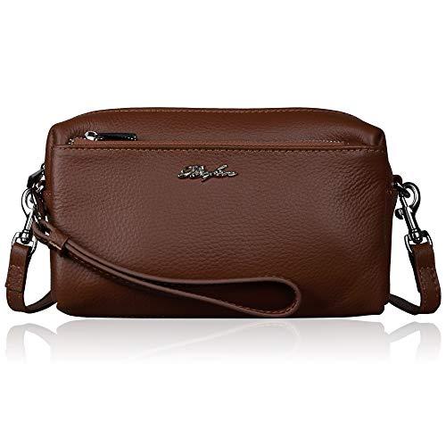 Befen Women Full Grain Leather Triple Zip Crossbody Bag Crossbody Cell Phone Purse Wallet Bag Phone Wristlet - Brown
