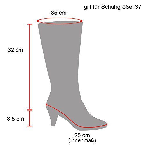 Stiefelparadies Klassische Damen Stiefel Leicht Gefütterte Boots Basic Leder-Optik Schuhe Damenstiefel Trichter Absatz Damenschuhe Booties Flandell Schwarz Schnallen