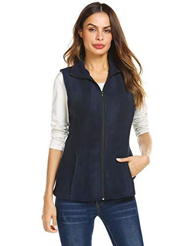 (Grabsa Women's Casual Zip Up Sleeveless Polar Fleece Vest Lightwieght Outwear Vest Navy Blue)