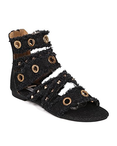 CAPE ROBBIN Women Gladiator Sandal - Frayed Denim Sandal - Spikes and Grommet Flat Sandal - HK30 by Black Denim (Size: 7.5)