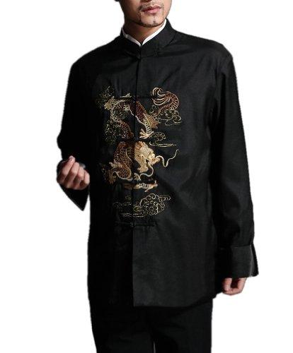 Stylish Black Kung Fu Men's Blazer Padded Jacket Dragon Shirt - 100% Silk #104 + Free Magazine (Silk Kung Fu Shirt)