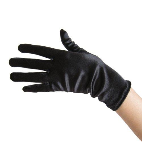 Short Black Dress Halloween Costume Ideas (Black Satin Gloves (Wrist Length) ~ Formal, Wedding, Theatrical, Costume Party)