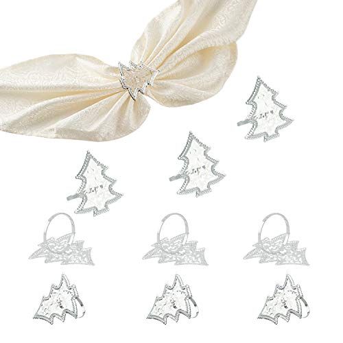AHUA 10Pcs Christmas Napkin Rings Handcraft Sparkly Napkin Rings Silver Napkin Holders for Wedding Centerpieces Special Occasions Celebration Romantic