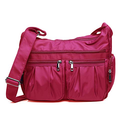 - Crossbody Bags for Women, Multi Pocket Shoulder Bag Waterproof Nylon Travel Purses and Handbags