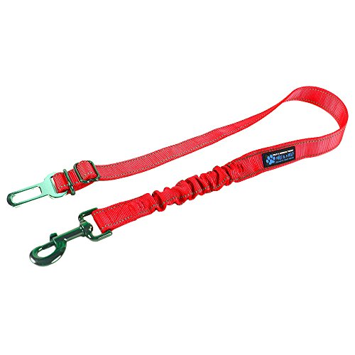 Max and Neo Dog Vehicle Seat Belt Bungee Harness Car Leash - We Donate a Leash to a Dog Rescue for Every Leash Sold (RED)
