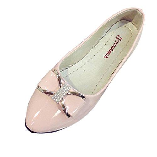 Zapatillas Planas Para Mujer Inkach Fashion Punta Redonda Informal Zapatillas De Tacón Bajo Rhinestone Rosa