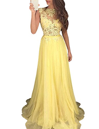 Mulanbridal Elegant Lace Top Long Maxi Prom Party Evening Dress Bridal Gowns Yellow ()