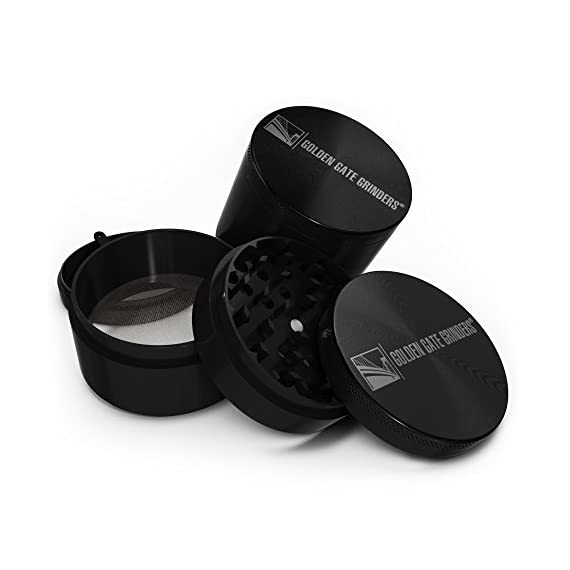 Golden Gate Grinder 2.5 Inch Ultimate Herb Grinder 4-piece Anodized Aluminum 2 NO PLASTIC PARTS - Our Grinders Are Made From Aircraft Grade Aluminum On CNC Machines For A Perfect Fit, Sharpest Teeth and Enduring Durability. Our Grinders Are Made From Heavy Duty Aluminum. No Zinc, No Cheap Parts And No GIMMICKS. SHARP ALL METAL TEETH - Anodized Aluminum - Forty Nine ALL METAL NOT PLASTIC Sharp Diamond Shaped Grinding Teeth - Thirty Two Holes. We Saved No Expense To Offer The Sharpest Most Durable All Metal Teeth And Grinder BEST QUALITY AND VALUE - Heavy Duty Grinder With Powerful Neodymium Magnets - Keep The Lid In Place, Your Herbs Fresh And The Odors In The Grinder. The Lid Is Tight And You Can Grab Your Grinder By The Lid And Shake It And The Lid Stays On - No Danger Of Spillage.