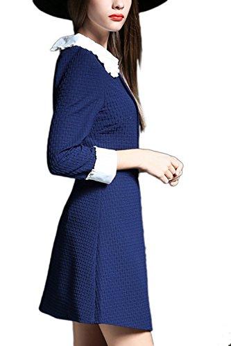 Vestido de fiesta de mujer manga larga muñeca elegante Collar