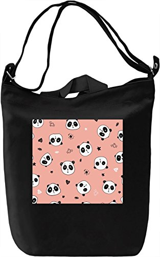 Animated Panda Print Borsa Giornaliera Canvas Canvas Day Bag| 100% Premium Cotton Canvas| DTG Printing|