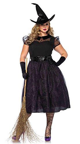 Leg Avenue Women's Plus Size Classic Darling Spellcaster Witch Costume, Black -