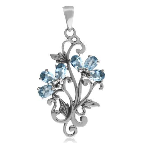 Topaz 925 Sterling Silver Victorian Style Flower & Leaf Pendant (Sterling Flower Silver Leaf Pendant)