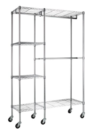 8-RW3 Steel Garment Rack, 2 Adjustable Shelves, 2 Adjustable Half Shelves, 3 Garment Bars, 6 Casters, Chrome Finish, 74