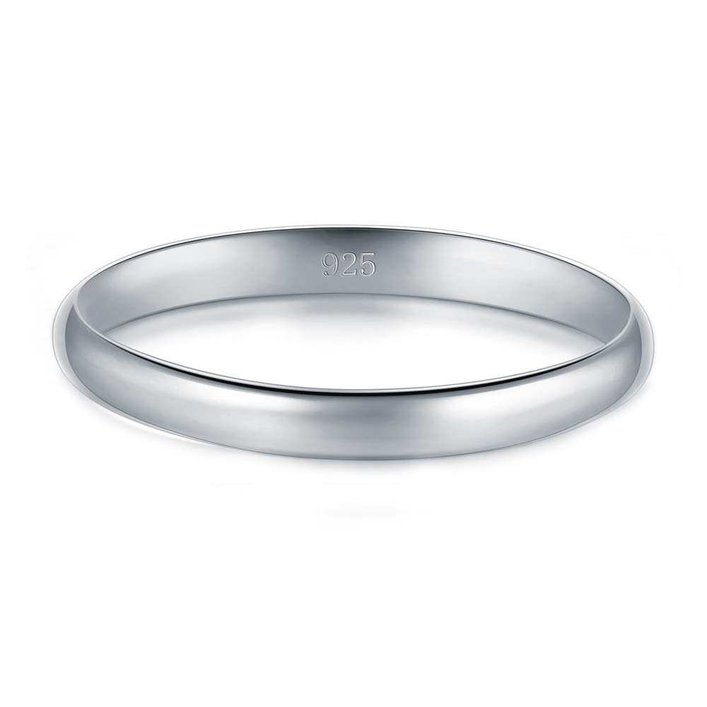 BORUO 925 Sterling Silver Ring High Polish Plain Dome Tarnish Resistant Comfort Fit Wedding Band 2mm Ring Size 9 by BORUO (Image #2)