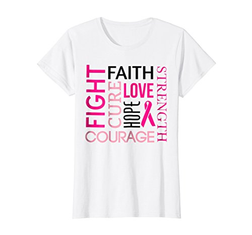 Womens Breast Cancer Fight Tshirt FAITH LOVE HOPE Pink Ribbon Tee Large (Ribbon Tee)