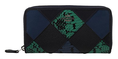 COACH Accordion Zip Wallet with Snake Skin Embossed Patchwork, F57591 SVF23 ()