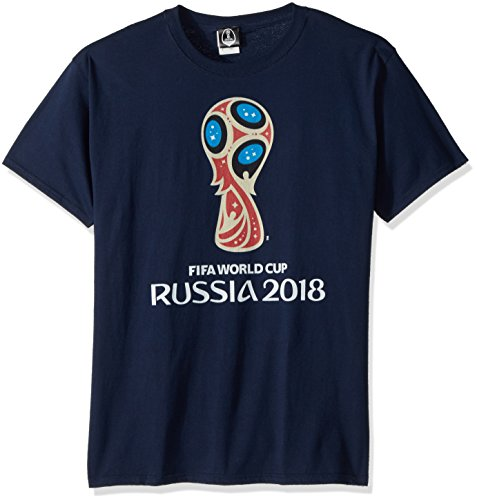 FIFA Men's Russia 2018 Logo Tees, Blue//Color Trophy Logo, (Official Logo Tee)