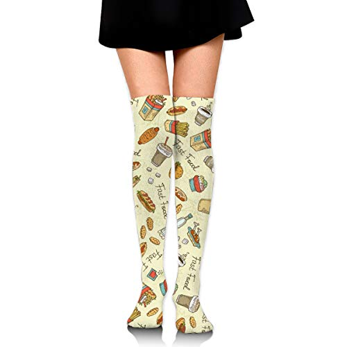 Guoxichangtuiwa Hot Dogs, Hamburgers, Good Food Women's Girl's Breathable Cotton Comfortable Fashion Over The Knee High Leg Athletic Thigh Highs Socks,Cosplay Socks]()