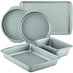 Farberware 46404 Nonstick Bakeware 5-Piece Baking Pan Set, Gray