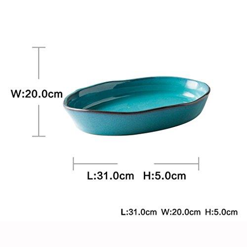 He Xiang Ya Shop Blue Large Dinner Plate Soup Plate Household Fruit Salad Dish Fish Plate Ceramic Dinnerware by He Xiang Ya Shop (Image #6)'