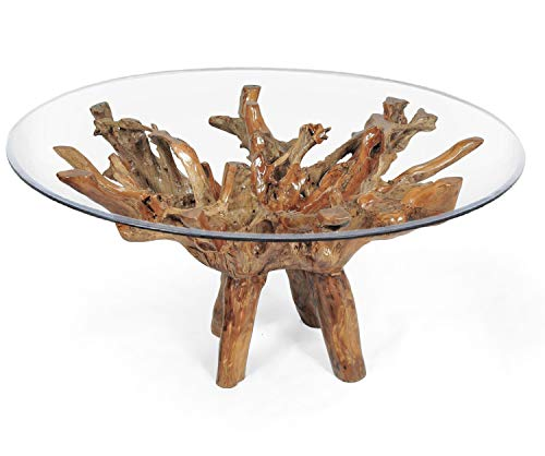 (Teak Wood Root Dining Table Including a 63 Inch Round Glass Top Made by Chic Teak)