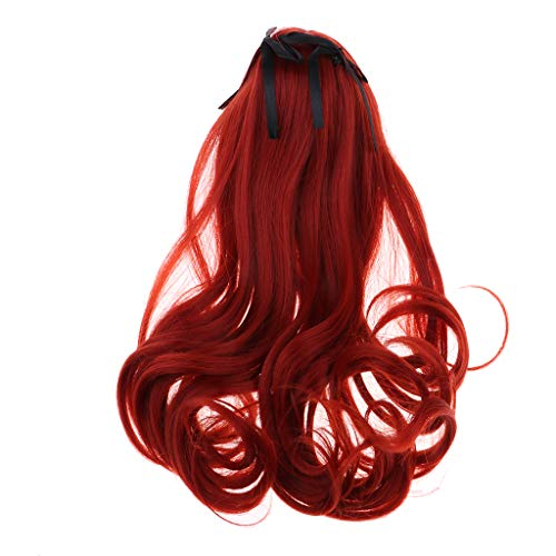 Prettyia 1/3 BJD Dolls Full Wig Hair Bang for Girl Doll DIY Making Accessory Soft Touch Wig (Wine Red)
