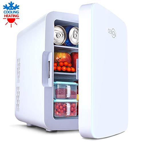 Mini Fridge with Cooler and Warmer without freeze, 10 Liter Large Capacity Portable Compact Fridge, Mini Refrigerator with AC/DC Dual Power Mode for Home Car Office Dormitory (White, 10L)