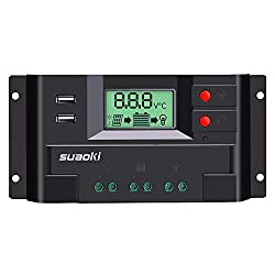 SUAOKI 20A Solar Charger Controller 12V/24V PWM Solar Panel Regulator Auto Parameter Adjustable with LCD Display and Dual USB Port