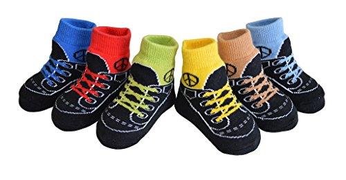 Bootie Keepsakes - Baby Infant Toddler Boy Shoe Look Socks-Anti Slip Soles - Soft Cotton - 6 Pairs - Baby Shower Gift- 3-12 Months