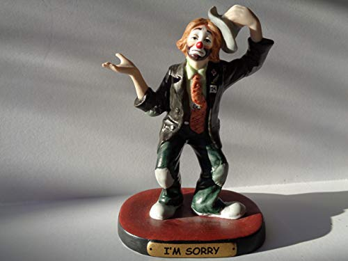 EMMETT KELLY Vintage Im Sorry Flambro Imports Hobo Clown Porcelain Figurine Very Collectible