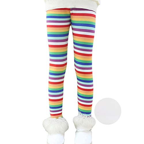 Thick Warm Long Pants Printing Fleece Lined Leggings 140 Rainbow ()