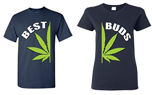 Shop4Ever Best Buds Pot Leaf Marijuana Weed Matching T-Shirts- Men 3XL Navy//Women 2XL Navy