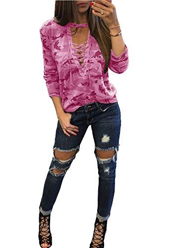 Chemises Blouse Deep Longue Femmes Rose Shirt XXL Dames vider Sexy Chemisier S norme Manche V Tops Shirts Camouflage 6PUdqWB8q