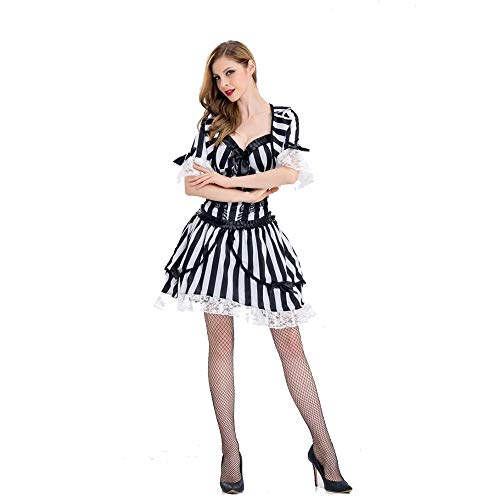 JXJ Black and White Striped Ghost Bride Costume Vampire Knight Costume Zombie Costume Cosplay Halloween Costume Makeup Party Cute Ladies Accessories,S