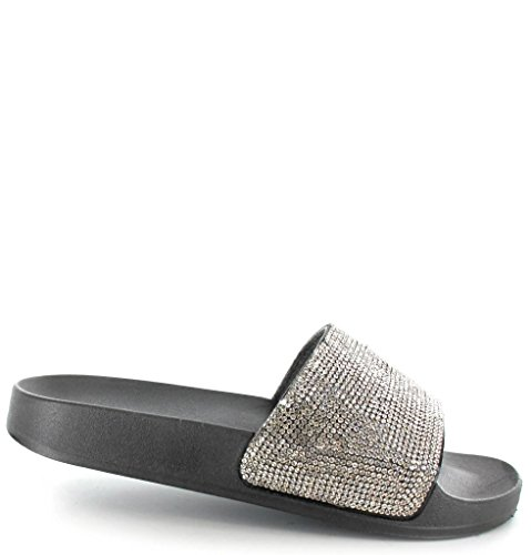 Ella Ladies Girls Diamante Mule Slider Sandals Beach Open Toe Flat Slip On Black / Silver jL0Gbsb1