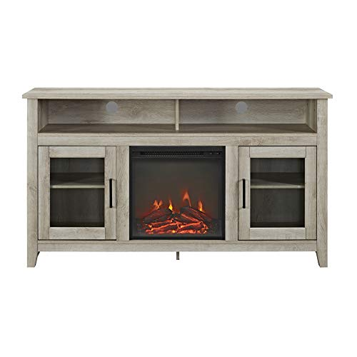WE Furniture AZ58FP18HBWO Tall Rustic Wood Fireplace Stand for TV's up to 64' Living Room Storage, White Oak