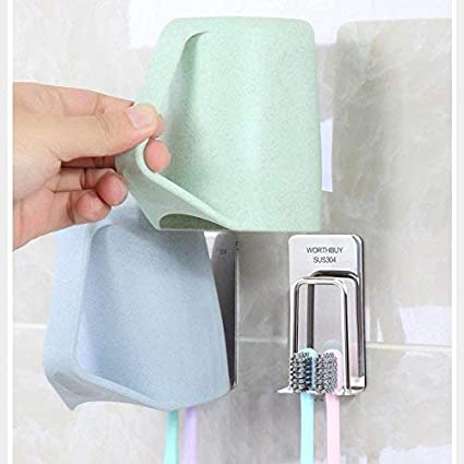 Amazon.com: 2PCS Wall Mounted Toothbrush Holder, - No Trace Sticker Suction Cup - Stainless Steel Bathroom Brush Dispenser With 3M Adhesive Brushing Tumbler ...